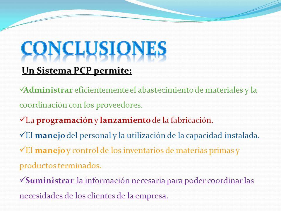 Conclusiones Un Sistema PCP permite: