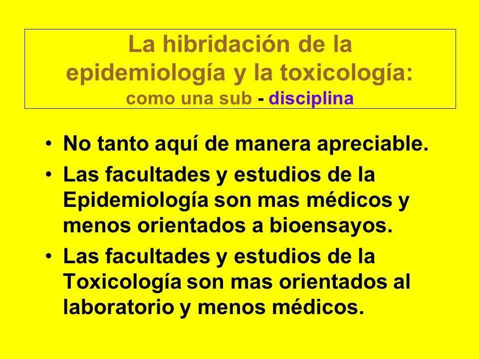 La hibridación de la epidemiología y la toxicología: como una sub - disciplina
