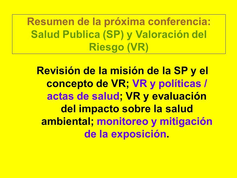 Resumen de la próxima conferencia: Salud Publica (SP) y Valoración del Riesgo (VR)