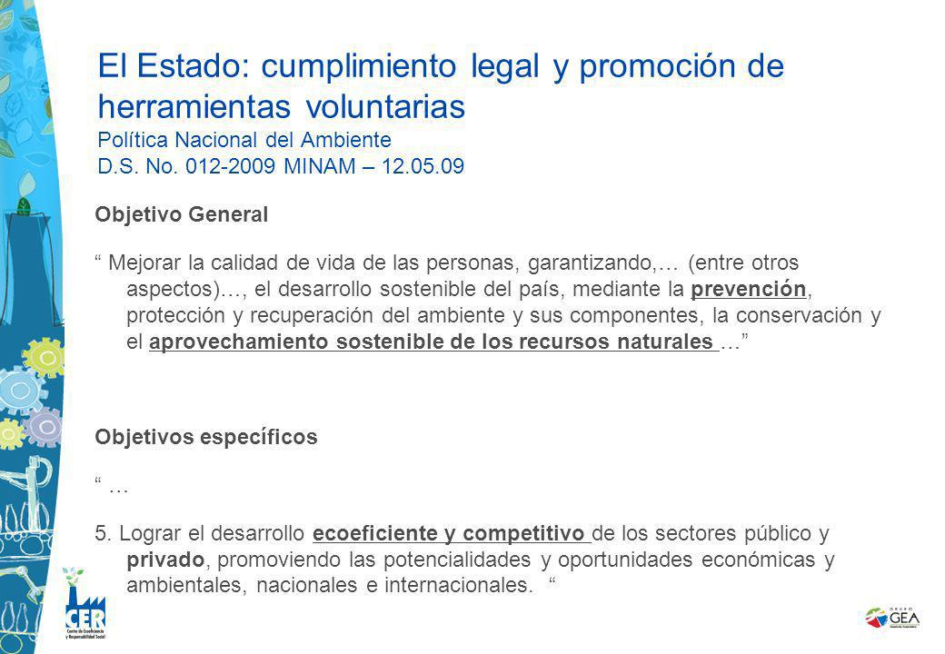 El Estado: cumplimiento legal y promoción de herramientas voluntarias Política Nacional del Ambiente D.S. No. 012-2009 MINAM – 12.05.09