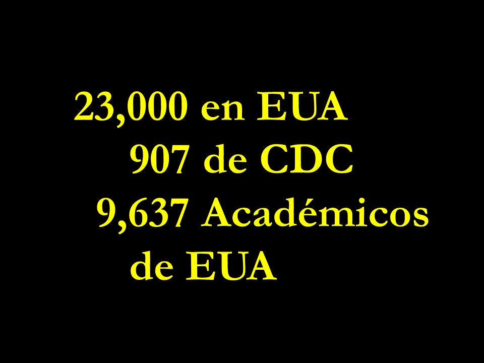 23,000 en EUA 907 de CDC 9,637 Académicos de EUA