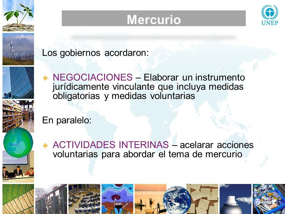 MEDIDAS DE CONTROL Mercurio Los gobiernos acordaron: