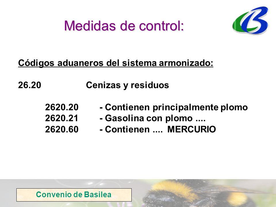 Medidas de control: Códigos aduaneros del sistema armonizado: