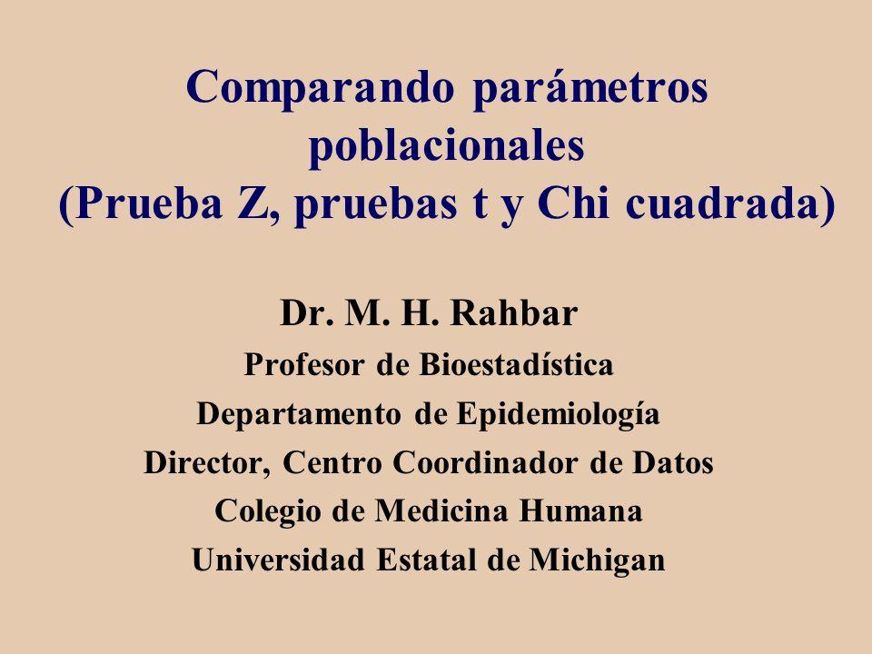 Comparando parámetros poblacionales (Prueba Z, pruebas t y Chi cuadrada)