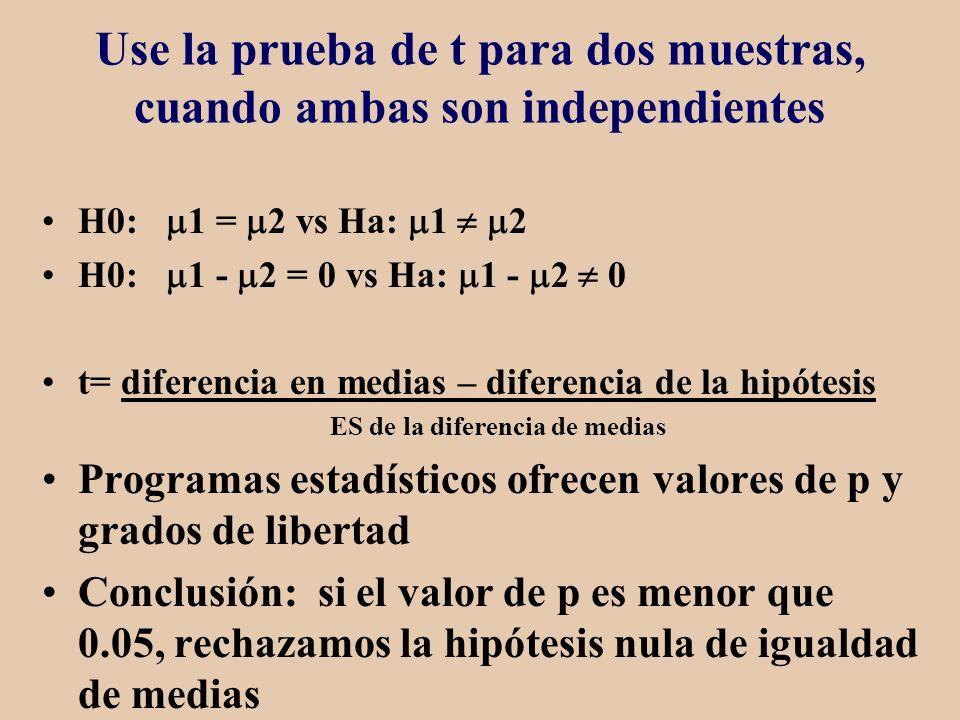 Use la prueba de t para dos muestras, cuando ambas son independientes