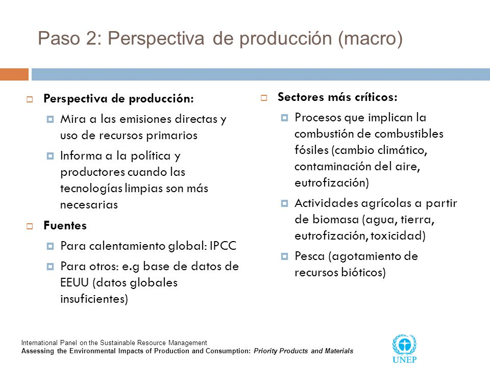 Paso 2: Perspectiva de producción (macro)