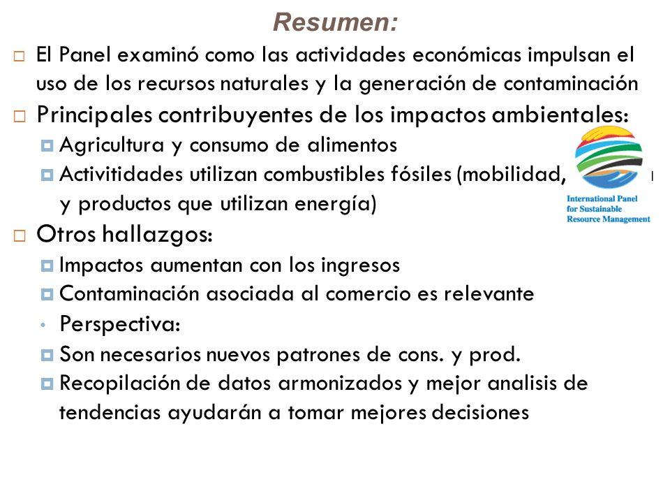 Principales contribuyentes de los impactos ambientales: