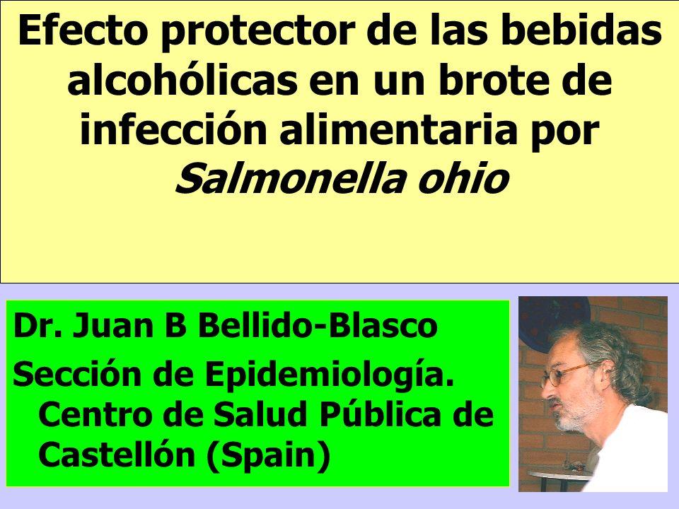 Efecto protector de las bebidas alcohólicas en un brote de infección alimentaria por Salmonella ohio