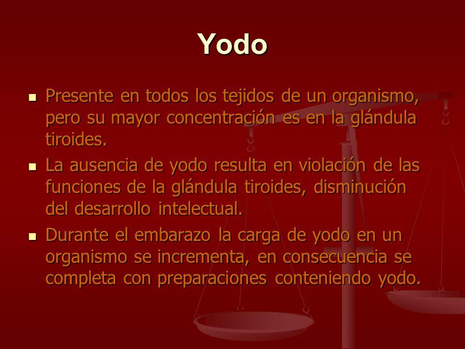 YodoPresente en todos los tejidos de un organismo, pero su mayor concentración es en la glándula tiroides.