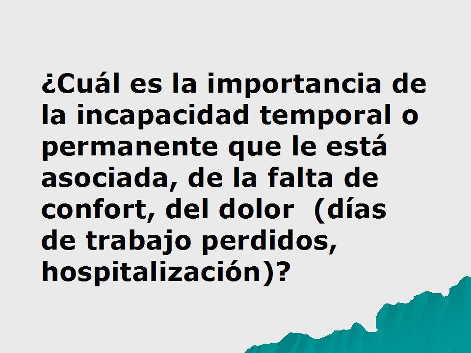 ¿Cuál es la importancia de la incapacidad temporal o permanente que le está asociada, de la falta de confort, del dolor (días de trabajo perdidos, hospitalización)