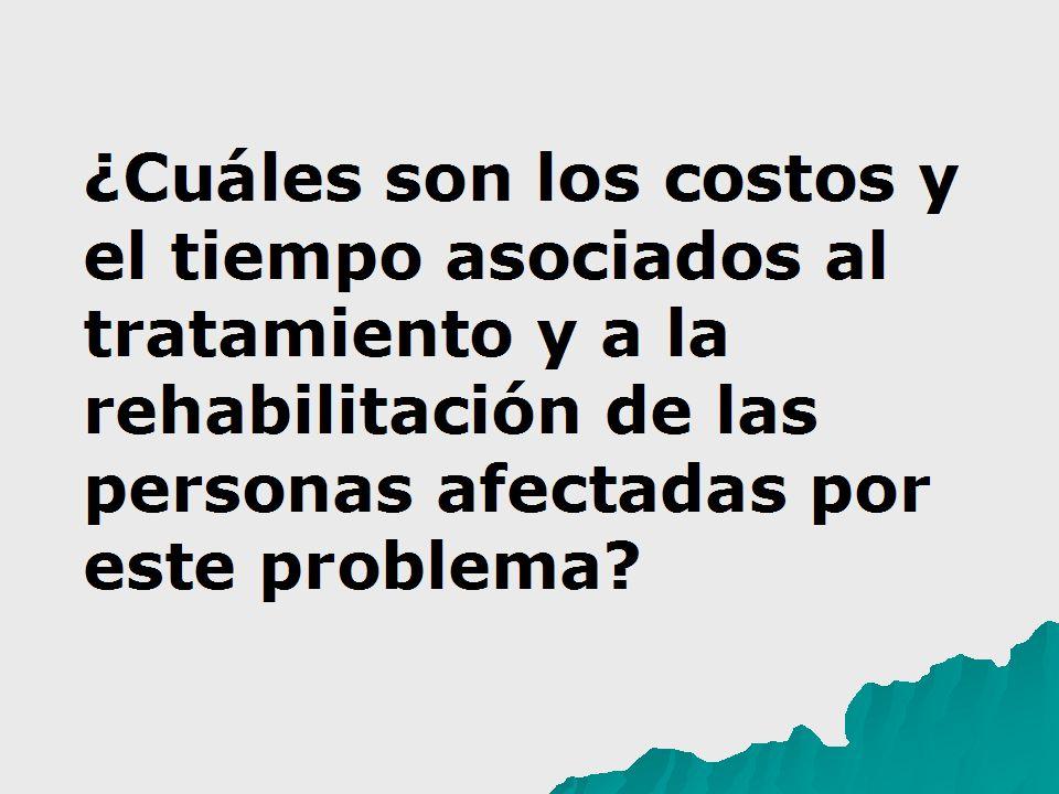 ¿Cuáles son los costos y el tiempo asociados al tratamiento y a la rehabilitación de las personas afectadas por este problema