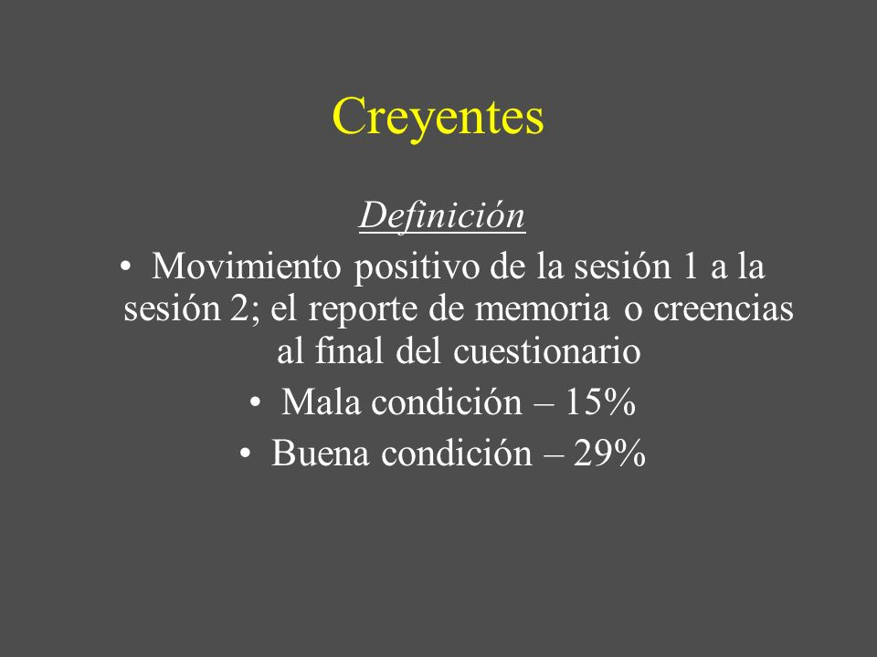 Creyentes Definición. Movimiento positivo de la sesión 1 a la sesión 2; el reporte de memoria o creencias al final del cuestionario.