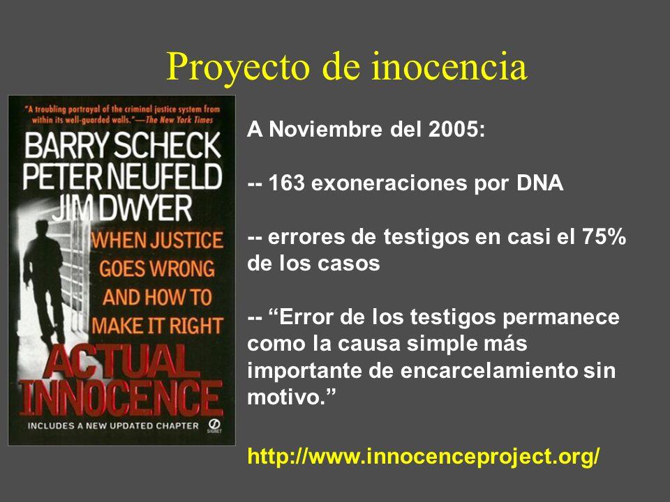 Proyecto de inocencia A Noviembre del 2005: