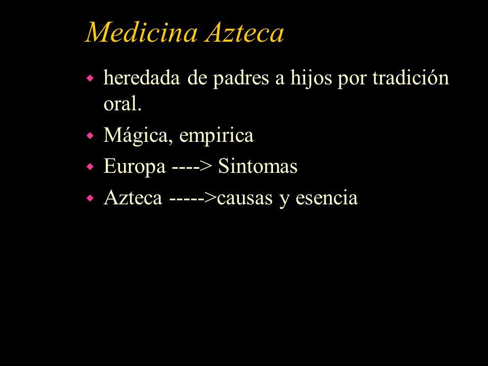 Medicina Azteca heredada de padres a hijos por tradición oral.