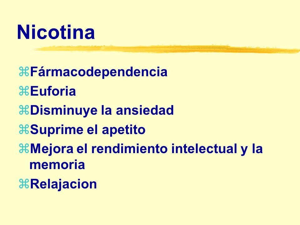 Nicotina Fármacodependencia Euforia Disminuye la ansiedad
