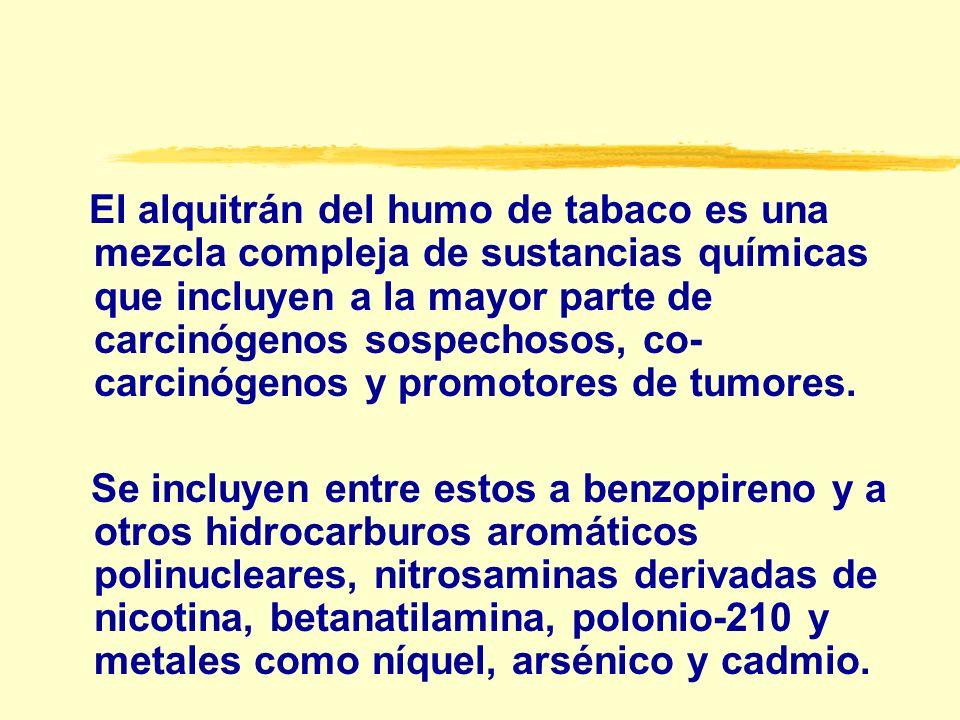 El alquitrán del humo de tabaco es una mezcla compleja de sustancias químicas que incluyen a la mayor parte de carcinógenos sospechosos, co-carcinógenos y promotores de tumores.