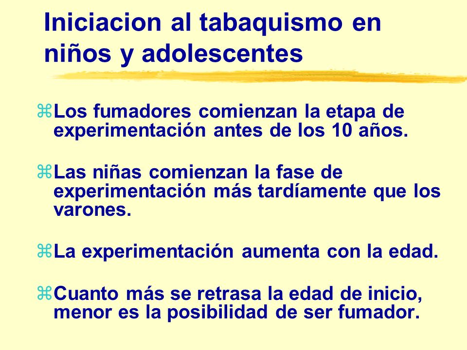 Iniciacion al tabaquismo en niños y adolescentes