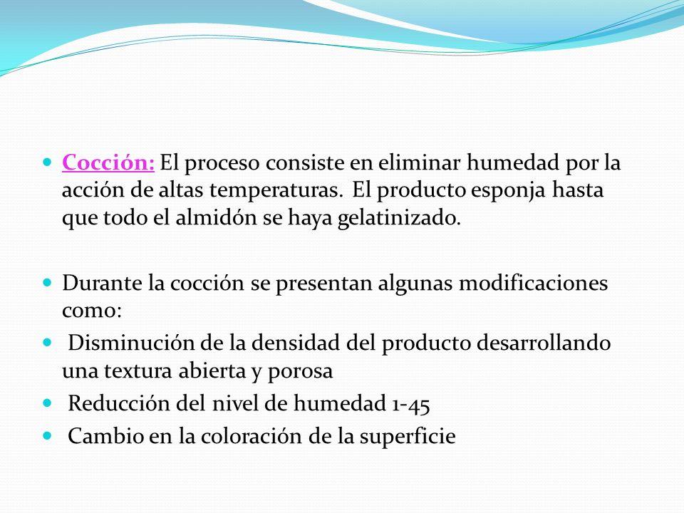 Cocción: El proceso consiste en eliminar humedad por la acción de altas temperaturas. El producto esponja hasta que todo el almidón se haya gelatinizado.
