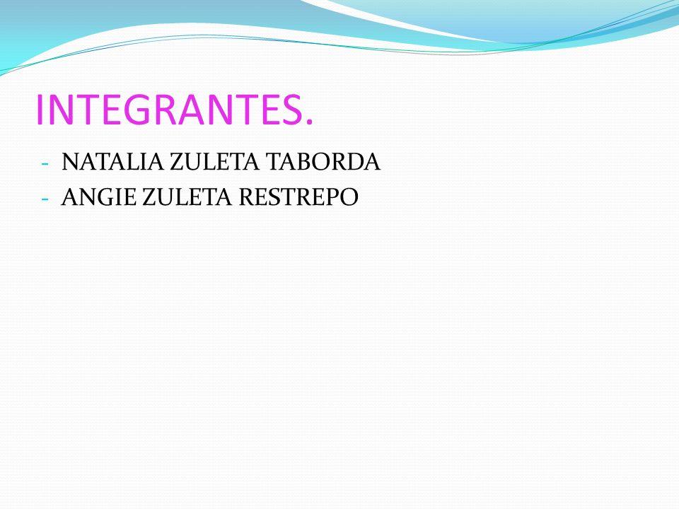 INTEGRANTES. NATALIA ZULETA TABORDA ANGIE ZULETA RESTREPO
