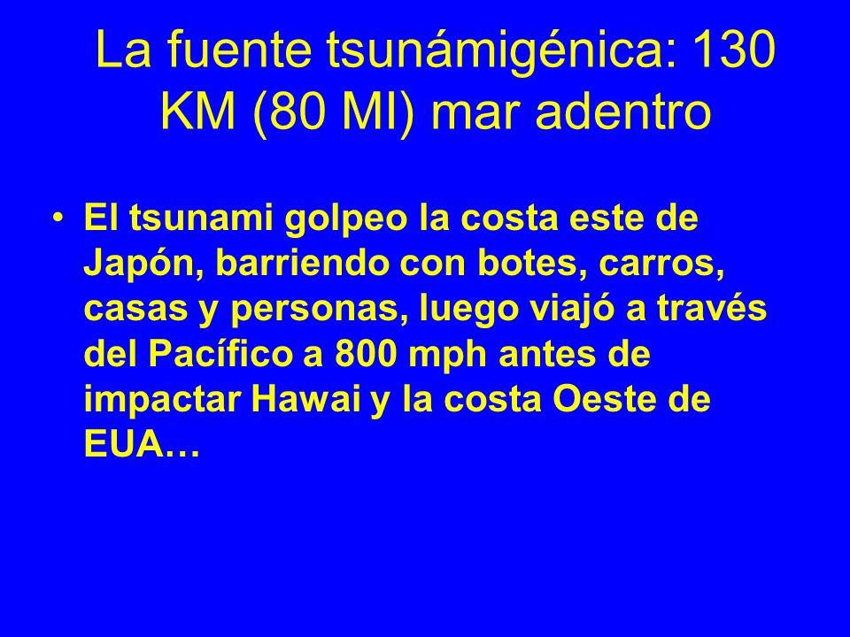 La fuente tsunámigénica: 130 KM (80 MI) mar adentro