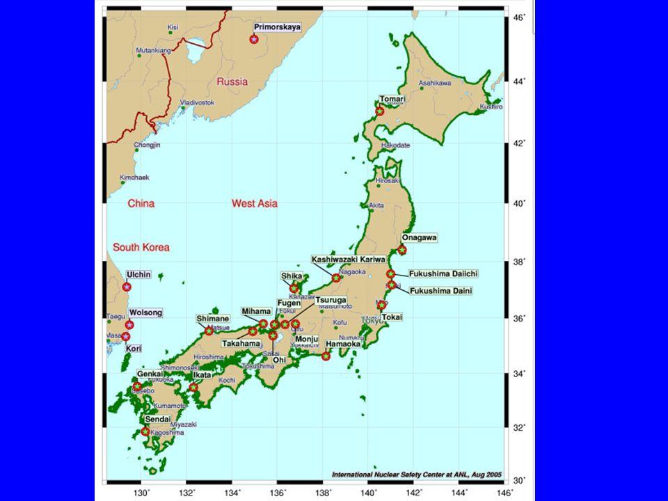 Mapa de los Reactores Nucleares en Japón (Centro de Seguridad Nuclear Internacional sitio we - http://www.insc.anl.gov/ (enviado por Borys Ledoshchuk)