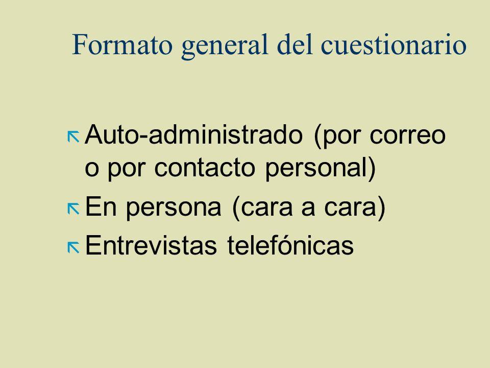 Formato general del cuestionario