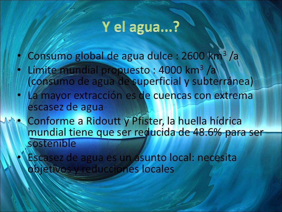 Y el agua... Consumo global de agua dulce : 2600 km3 /a