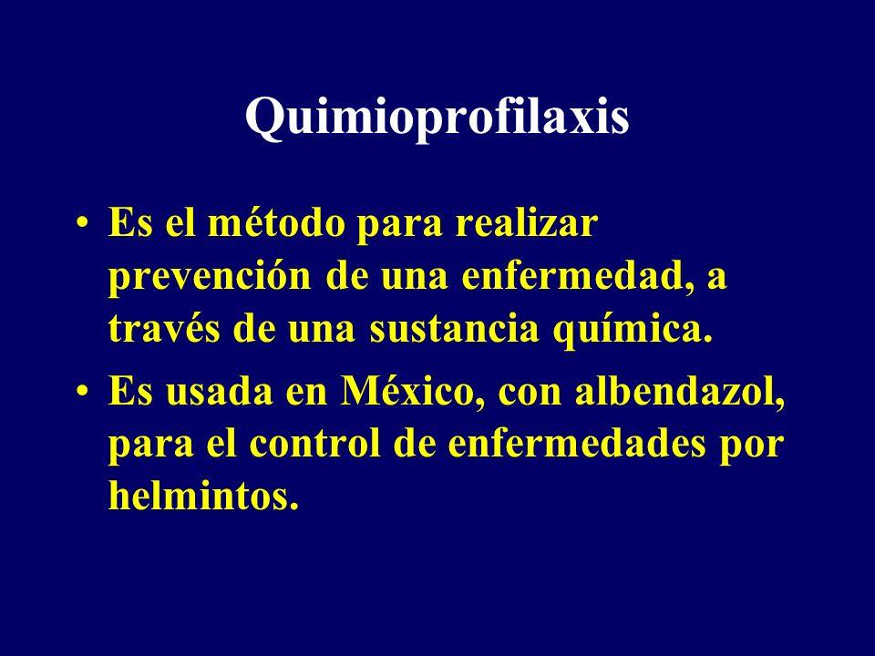 Quimioprofilaxis Es el método para realizar prevención de una enfermedad, a través de una sustancia química.