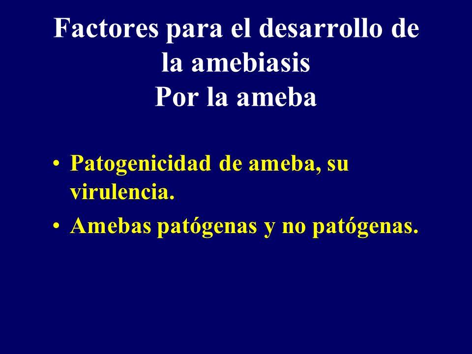 Factores para el desarrollo de la amebiasis Por la ameba