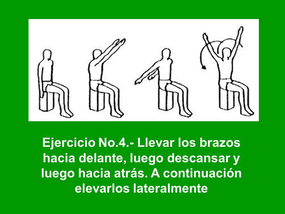 Ejercicio No.4.- Llevar los brazos hacia delante, luego descansar y luego hacia atrás.