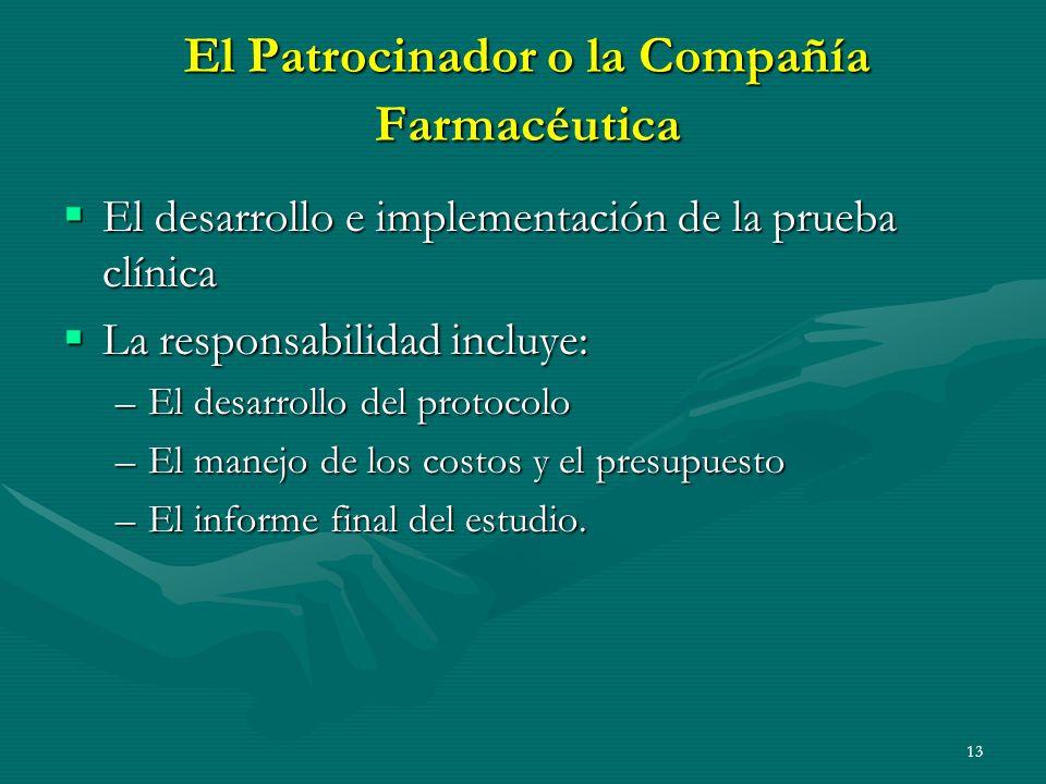 El Patrocinador o la Compañía Farmacéutica