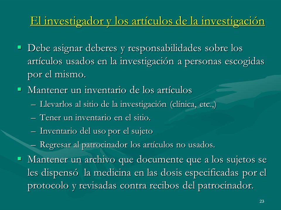 El investigador y los artículos de la investigación