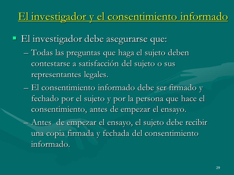 El investigador y el consentimiento informado