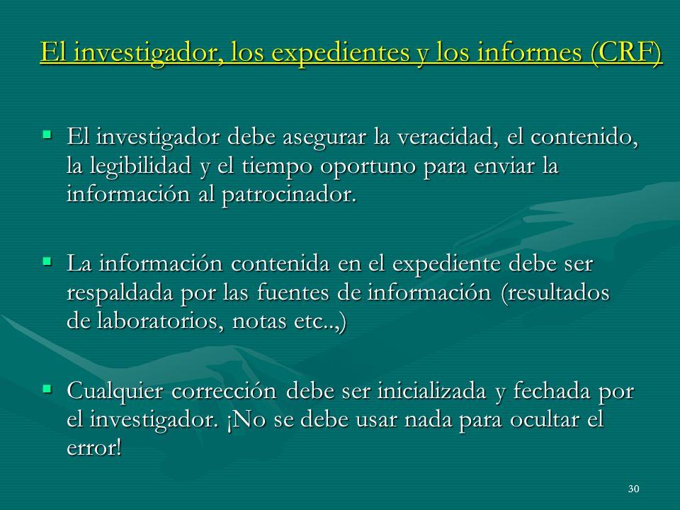 El investigador, los expedientes y los informes (CRF)