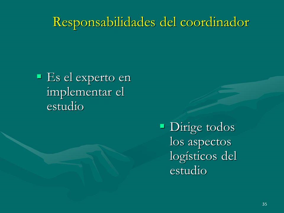 Responsabilidades del coordinador