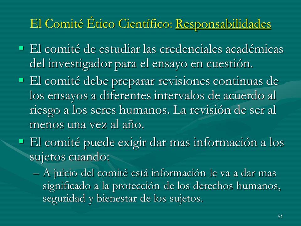 El Comité Ético Científico: Responsabilidades
