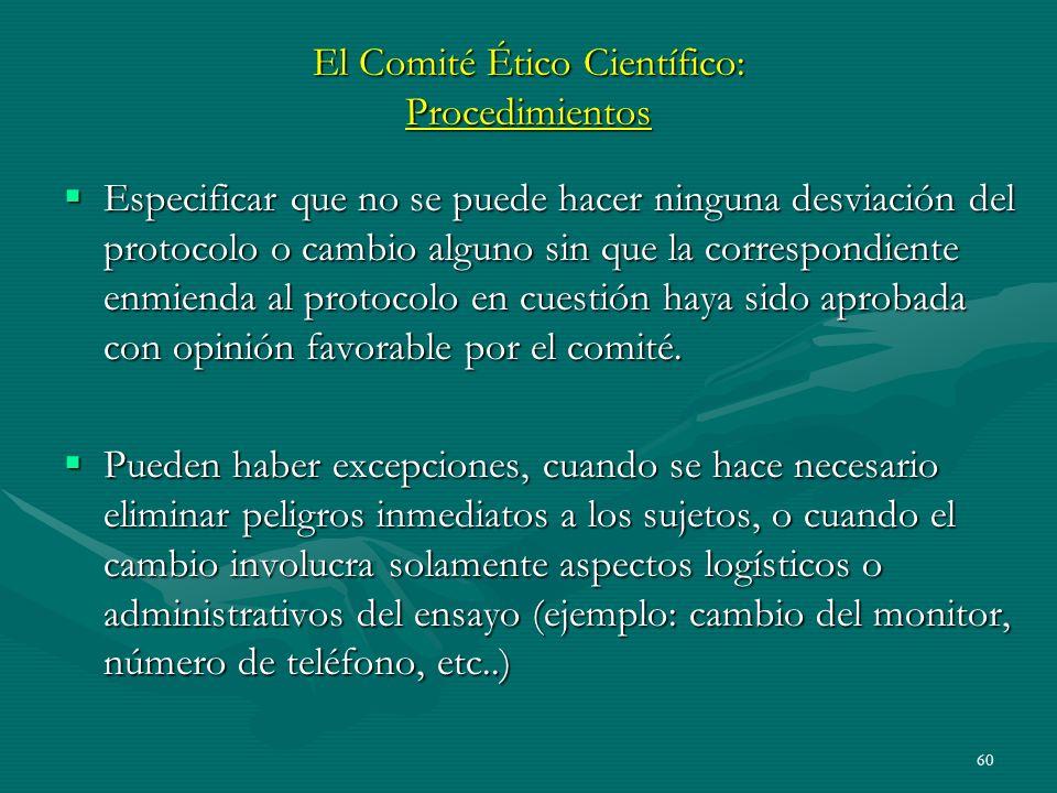 El Comité Ético Científico: Procedimientos