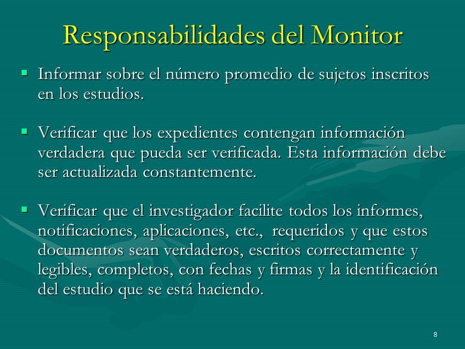 Responsabilidades del Monitor