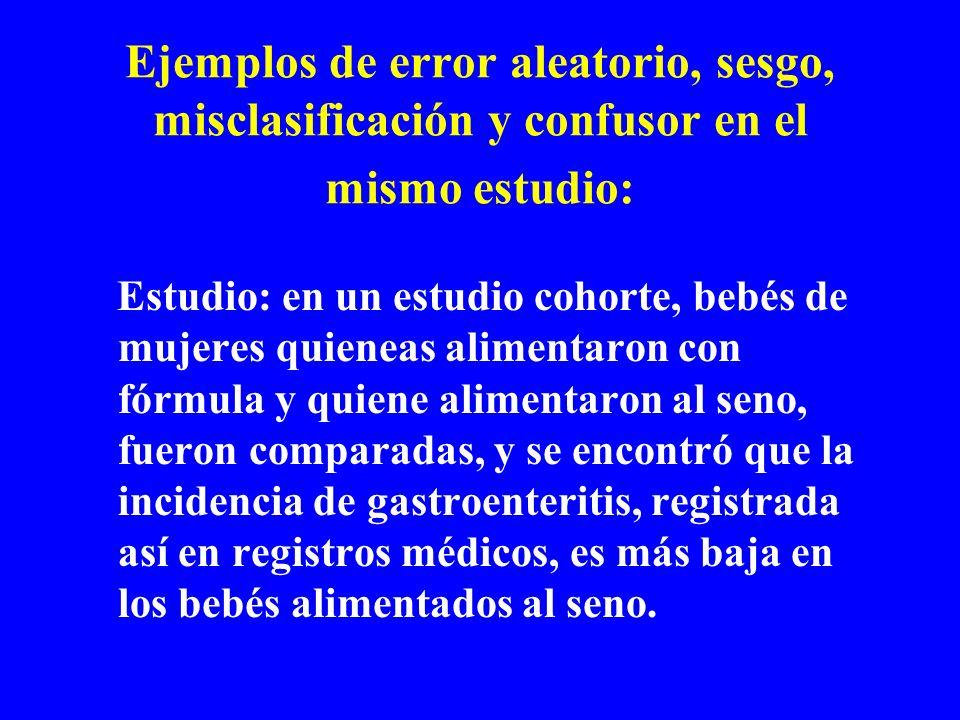 Ejemplos de error aleatorio, sesgo, misclasificación y confusor en el mismo estudio: