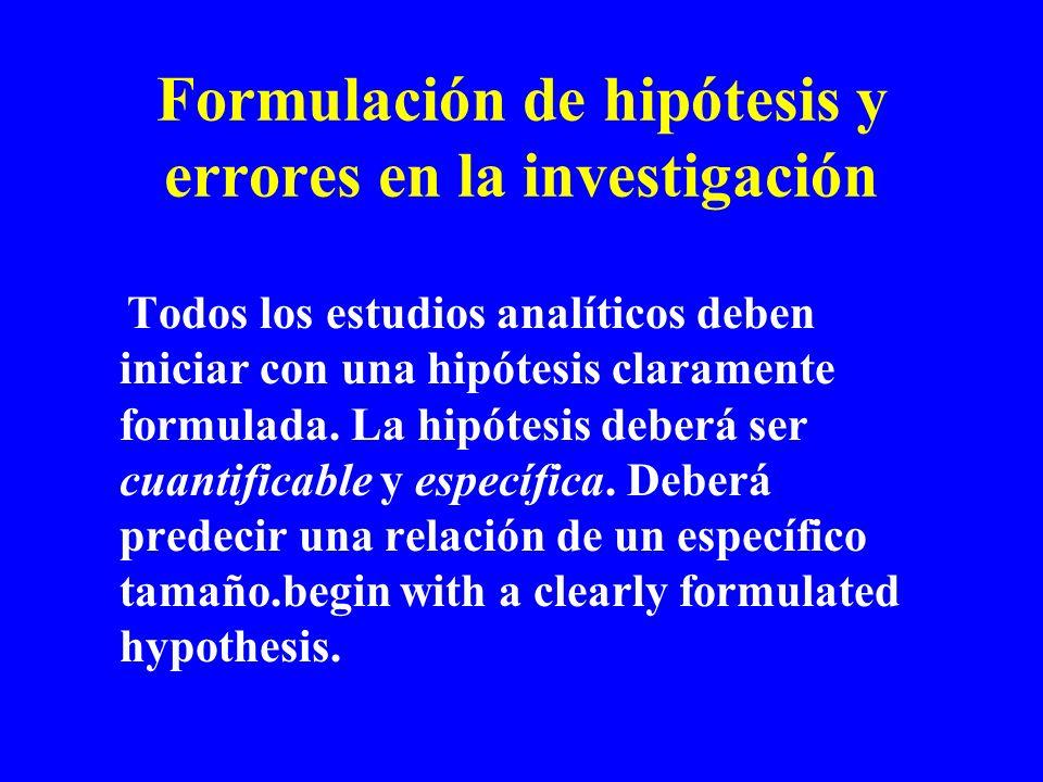 Formulación de hipótesis y errores en la investigación