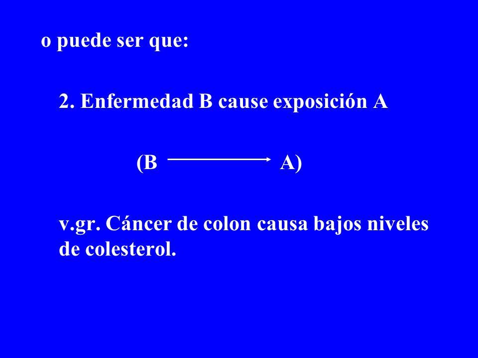 o puede ser que: 2. Enfermedad B cause exposición A.