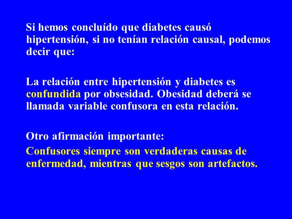 Si hemos concluído que diabetes causó hipertensión, si no tenían relación causal, podemos decir que: