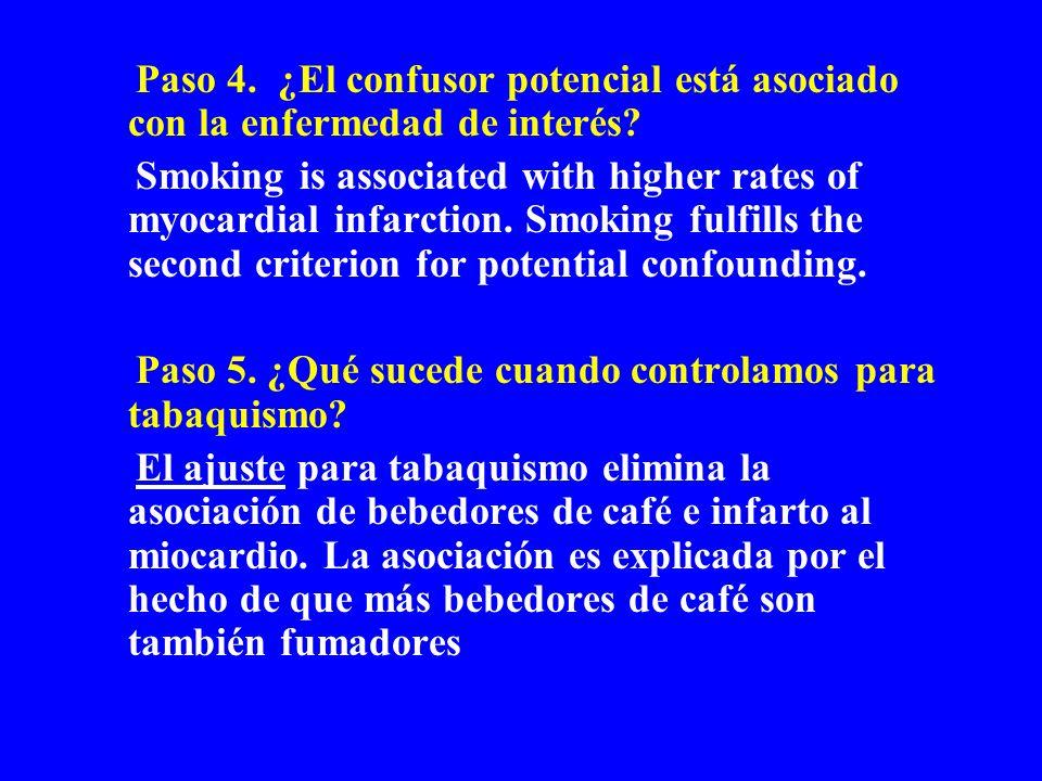 Paso 4. ¿El confusor potencial está asociado con la enfermedad de interés