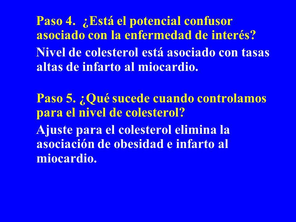 Paso 4. ¿Está el potencial confusor asociado con la enfermedad de interés