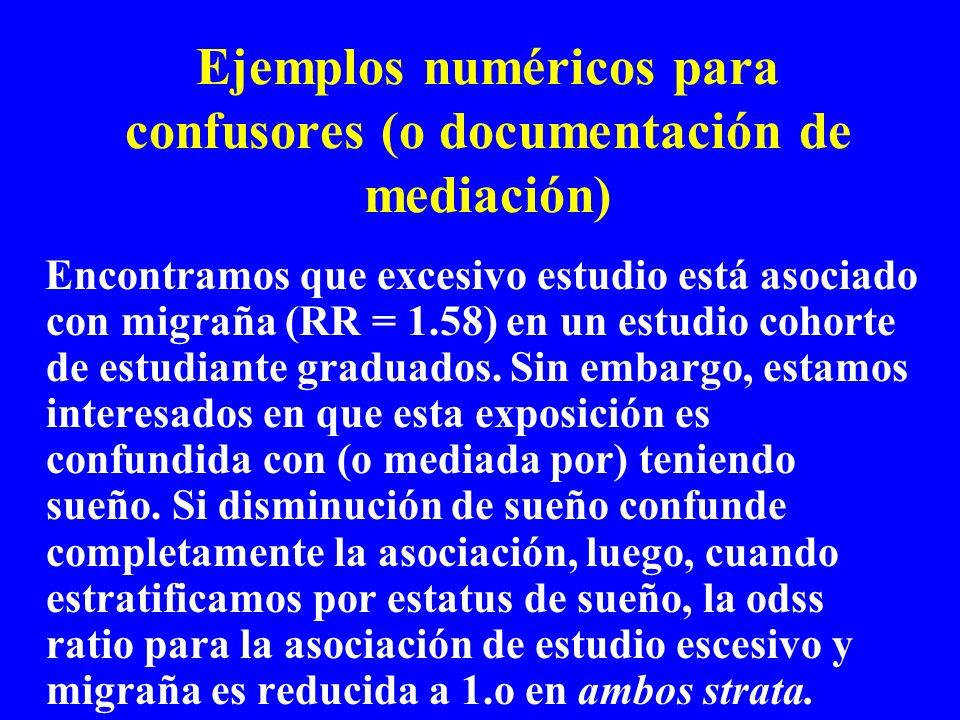 Ejemplos numéricos para confusores (o documentación de mediación)