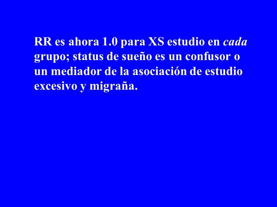 RR es ahora 1.0 para XS estudio en cada grupo; status de sueño es un confusor o un mediador de la asociación de estudio excesivo y migraña.