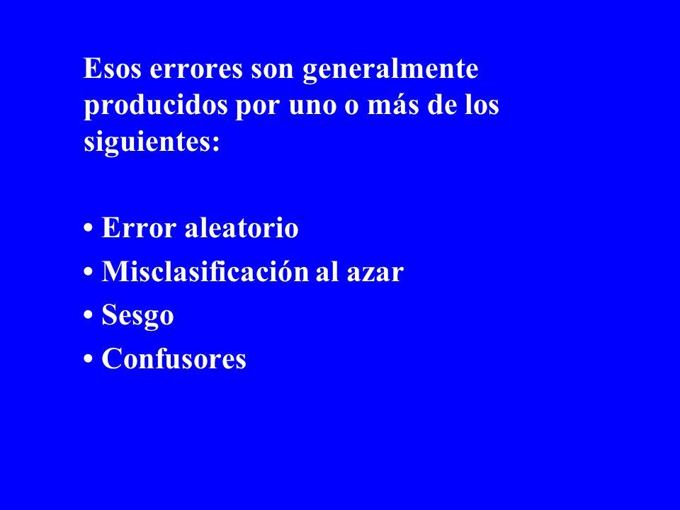 Esos errores son generalmente producidos por uno o más de los siguientes:
