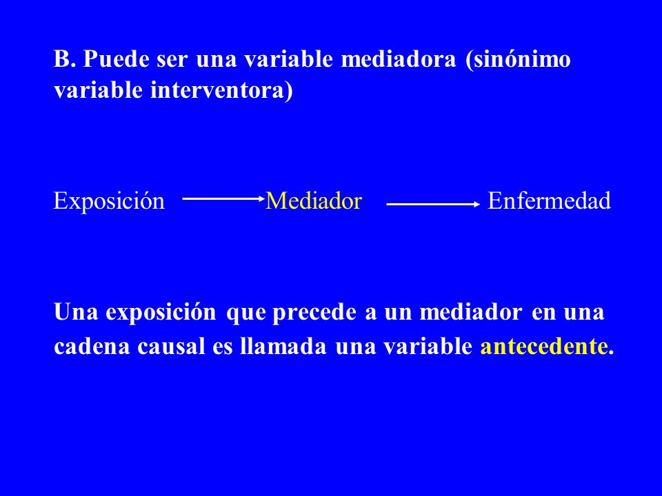 B. Puede ser una variable mediadora (sinónimo variable interventora)