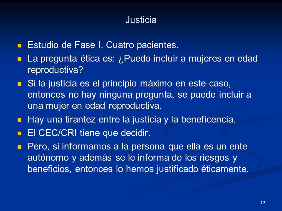 Justicia Estudio de Fase I. Cuatro pacientes. La pregunta ética es: ¿Puedo incluir a mujeres en edad reproductiva