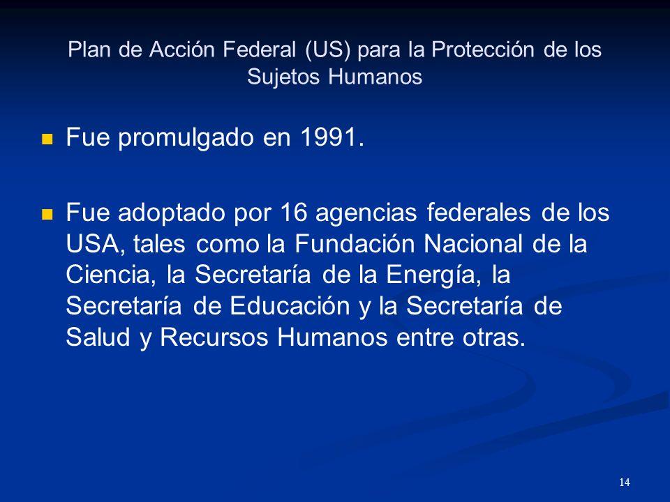 Plan de Acción Federal (US) para la Protección de los Sujetos Humanos